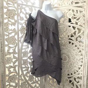 BCBG One shoulder asymmetric ruffle dress